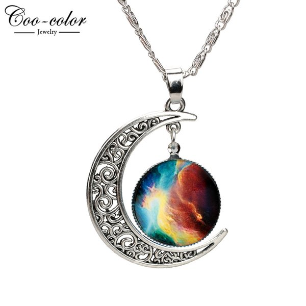 2016 nuovi monili di modo Collane Dichiarazione della cavità della lega Luna di vetro Galaxy pendenti di catena d'argento fascini Amico migliori regali