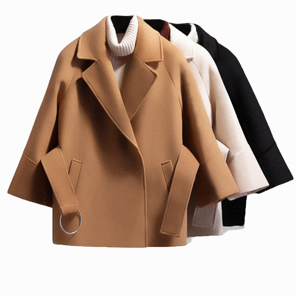 Vintage Coat Female Autumn Winter Woolen Coat Belt Jacket Turn-down Collar Flare Sleeve Cloak Coats Elegant Single Button Jacket