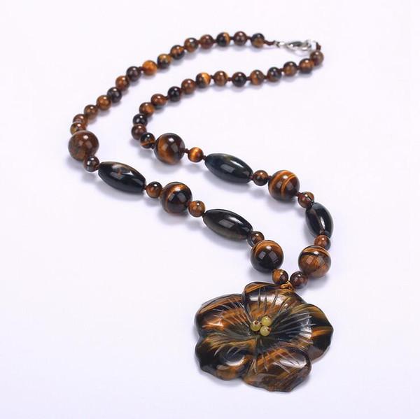 Produttori all'ingrosso di stile di commercio estero del pendente della collana della pietra dell'occhio della tigre naturale
