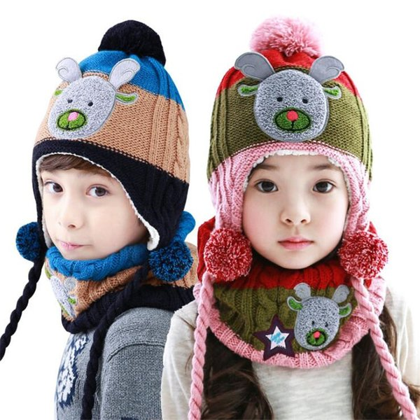 2019 new christmas Beanie Hats for child and kids Winter Hat Winter Warm Knitted Hat With Scarf Set Fleece Prefect Christmas Gift