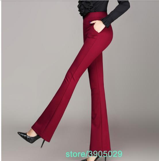 High waist women 2018 Capri office work pants plus size wide leg ladies formal trousers black red Pantalon plus size Z812