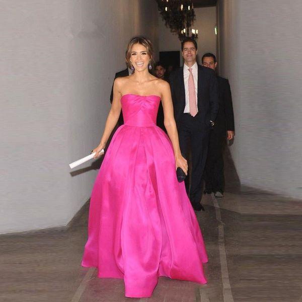 Hot Pink Satin Party Dress 2019 Vestidos Longos Para Festa Strapless Floor Length Evening Dresses Cheap Long Prom Gowns