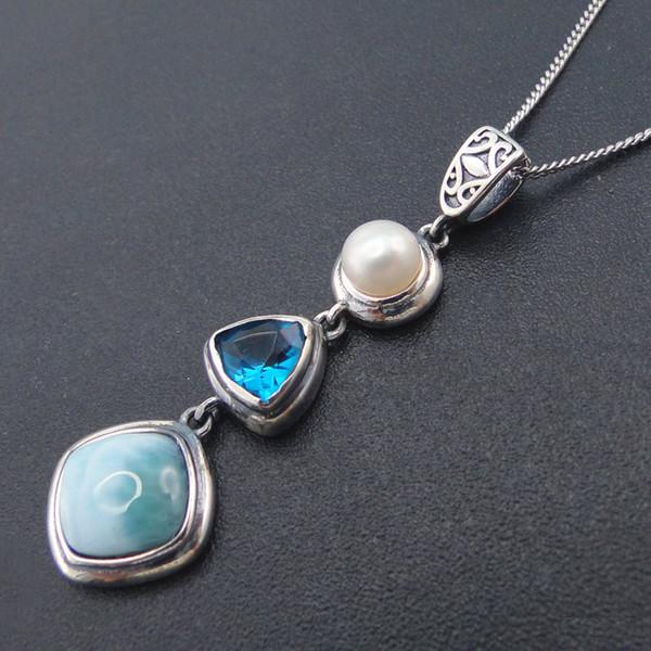 Natürliche Larimar 925 Sterling Silber Antik Design Blue Topaz echte Stein Perle Charm Anhänger für Frauen Geschenk ohne Kette J190525
