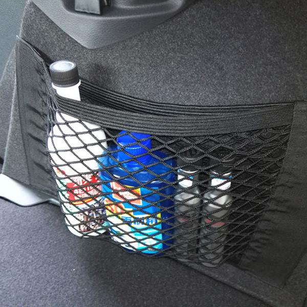 Araba aksesuarları Araba Arka Bagaj Koltuk Elastik Dize Depolama Mesh Net Çanta Bagaj Tutucu Cep Sticker Trunk Organizer Ca geri çantası