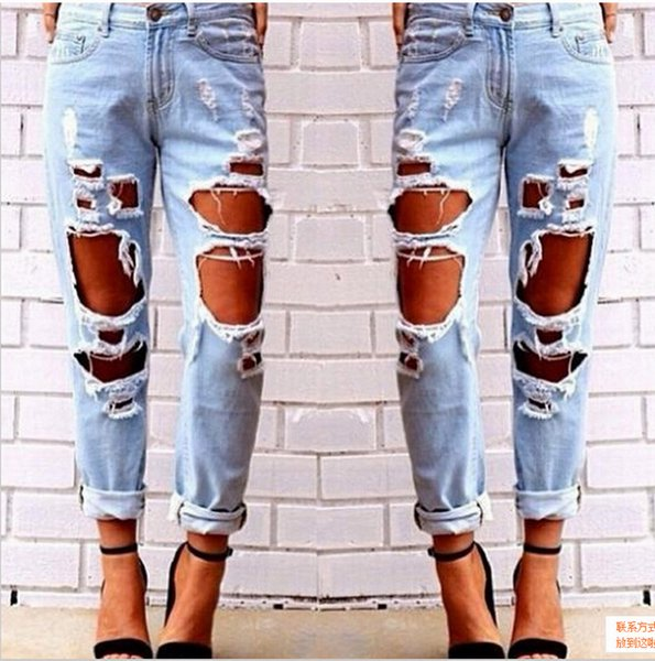 Ripped Jeans Denim Joggers Knee Holes Slim Fit Jeans For Women Blue Rock Star Womens Jumpsuit Destroyed Jeans Boyfriend Pencil Pants