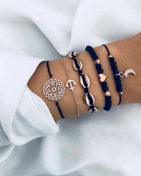 Hot Bohemian Moon Shell Flower Charm Bracelets Bangles For Women Fashion Black Color Strand Bracelets Sets Jewelry Party Gifts