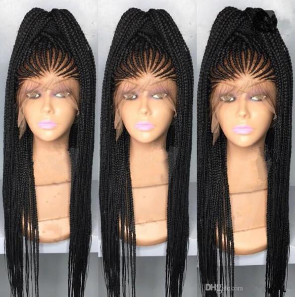 مربع الأفريقية الأمريكية تجديل الشعر الرباط الجبهة الباروكة الاصطناعية أسود اللون الاصطناعية الشعر الرباط الباروكات للنساء السود سريع شحن مجاني