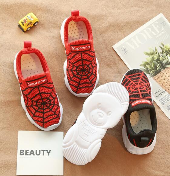 2019 spring and autumn new boys and girls sports shoes knit running shoes children's mesh cloth spider net casual shoes bear bottom