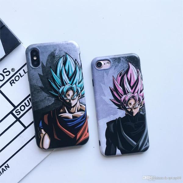 Livraison gratuite Super Japan Bande Dessinée Dragon Ball GoKu Bleu Rose Cas de Téléphone Pour iPhone 6 6s 7 8 Plus X Xs Max Xr Doux Silicone Couverture IMD Fundas