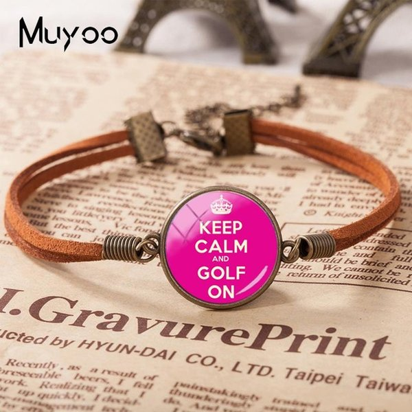 2019 New Keep Calm And Golf On Leather Bracelet Glass Cabochon Bracelets Art Hand Craft Jewelry Mother's Day Gift