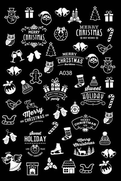Acheter En Gros Nouveau 20 Feuilles Joyeux Noël Nail Art Autocollants Arbre Noir Blanc Or Chapeaux Série De Cloche De Neige Nail Stickers Diy