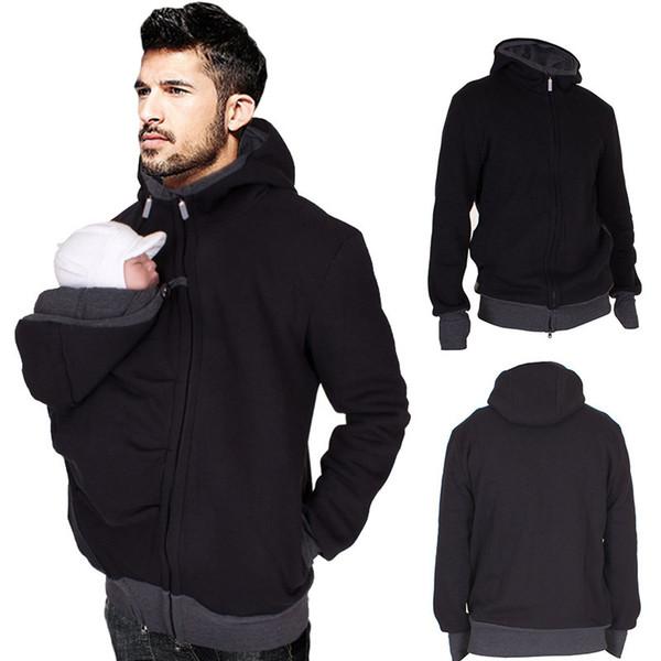 Men's Sweater 2019 Autumn&Winter New Casual Zipper Standing Collar Sweatshirts Fashion Baba Cardigan 2in1 Multi-function Kangaroo Suit
