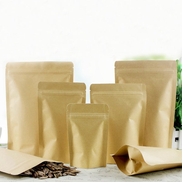 300pcs brown kraft paper bags for gifts/candy/tea/food/wedding not window stand up zipper kraft bags crafts Packing bag Display