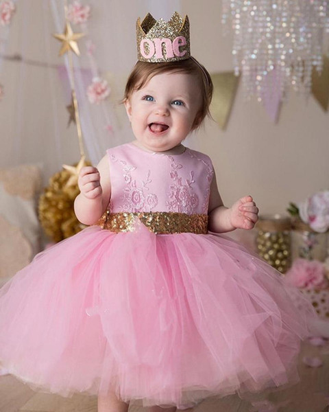 Pink Cute Princess Birthday Party Gowns with Sequin Belt Bow V-Back Any Size and Any Color O-Neck Sleeveless Flower Girl Dresses