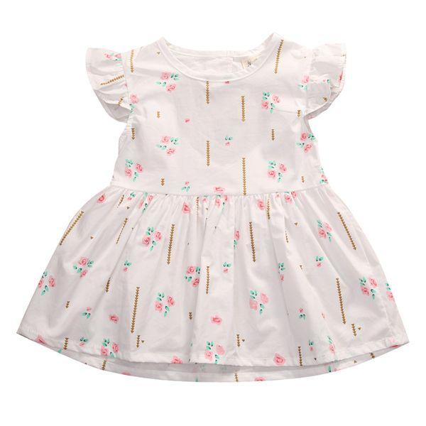 Pudcoco Kleinkind Baby Mädchen Sommer weißes Blumenkleid Kleid ärmellos Prinzessin Party Hochzeit Tutu Kleider