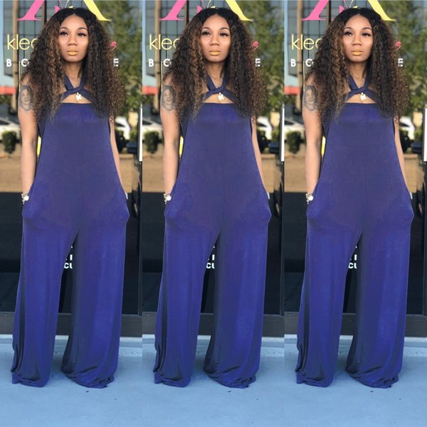 Fashion Sexy Colorful Solid Slash Neck Sleeveless Strapless Strap Bandage Women Casual Loose Pants Jumpsuits