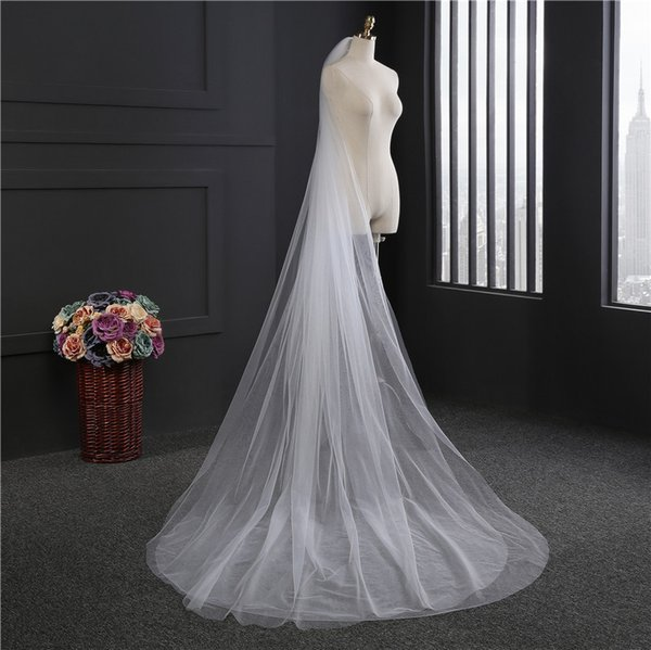 DHL Freeship White Ivory 3 Meters Cathedral Length Long Bridal Veils Two Layers Cut Edge With Comb Wedding Veil Bridal Accessories