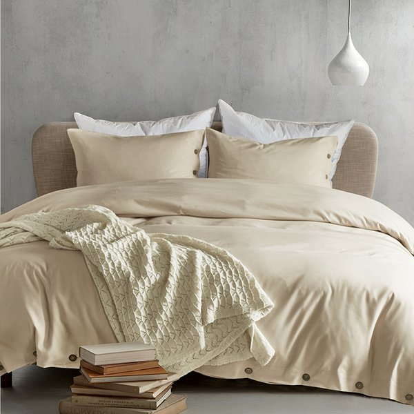 Lucky King Duvet Cover Set Home Luxury Microfiber Bedding Cover Sheet with Deco Button, Zipper, Ties -Modern Style for Men and Women (Cream)
