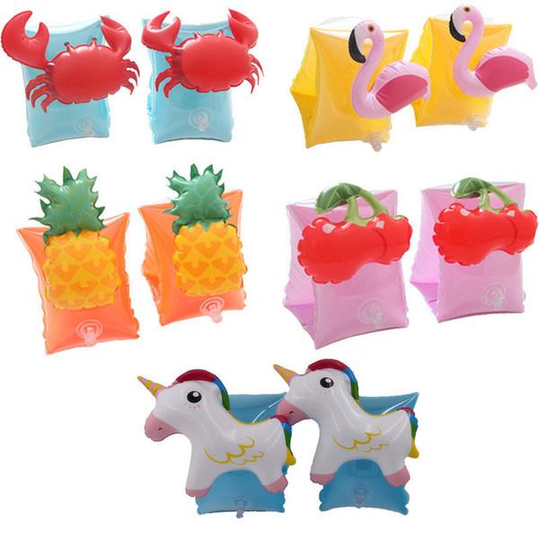 Cartoon Kids Inflatable Swim Arm Ring Pool Flamingo Crab Pineapple Pig Shark Swim Ring Arm Rings Drop Ship 240775