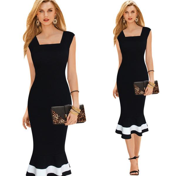 Venta caliente de las mujeres vestido de verano nuevo AliExpress damas comerciales hechizo color sexy cintura ajustada delgado sin mangas fishtail vestidos envío gratis