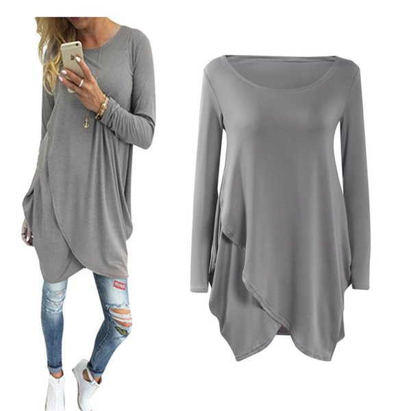 2017 New Fashion Women Dress Casual Spring O-neck Mini Loose Solid Natural Draped Long Sleeves Gary Party Club Plus Size Dresses