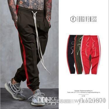 001 Nouveau pantalon à glissière latérale hip hop Fear Of God Mode urbain de vêtements de ville bas rouges justin bieber pantalon de jogging Noir rouge vert