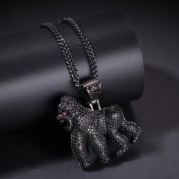 14K Iced Out Ape Pendant Necklace Bling Bling Micro Pave Cubic Zirconia Simulated Diamonds 24inch Rope Chain Hip Hop Jewelry