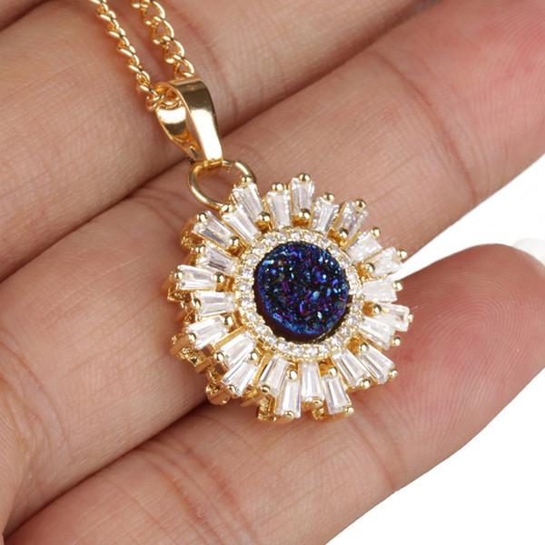 wholesale Shining Sun Shape Pendant Necklaces Natural Stone Druzy Rhinestone Necklaces Fashion Style Accessories Gift