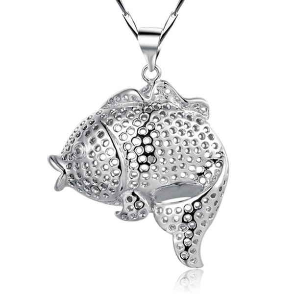 Sterling Silver Vintage Jewelry Women Necklace Pendant Fashion Fish Shape Necklaces Collares Mujer N694