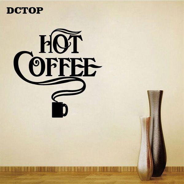 Hot Adesivo de Café para a parede Modern DIY Vinyl Decal Removível Decoração Para Casa para Cozinha Coffer Bar Loja de Arte Da Parede