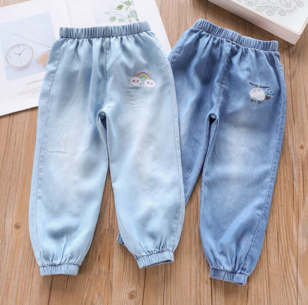 Fashion Kids jeans girls plane clouds rainbow embroidery denim trouser children elastic ribs ankler casual soft cowboy pants F6789