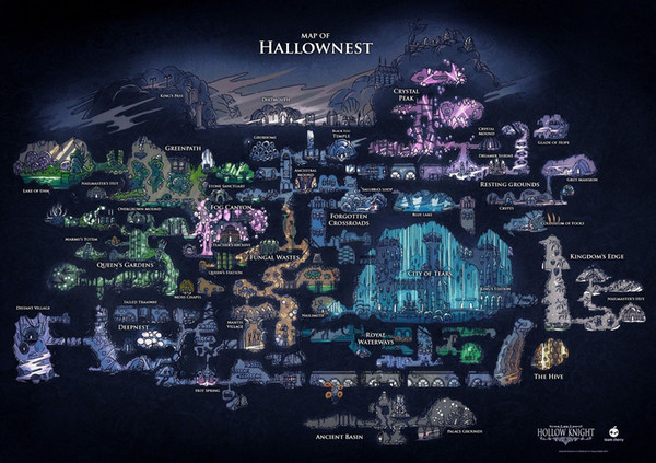 best selling Hollow Knight Map Of Hallownest Art Silk Print Poster 24x36inch(60x90cm) 018
