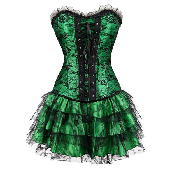 Sapubonva Corsetto e Bustier Lace Evening Women Casual Dress Plus Size Push Up Gothic Corset Dress Zip Nero Rosso Vintage Green