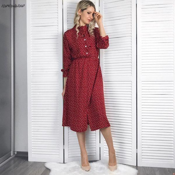 stand elegant collar polka dot chiffon women dress flare sleeve side women female dress 2019 spring polka dot split midi vestidos