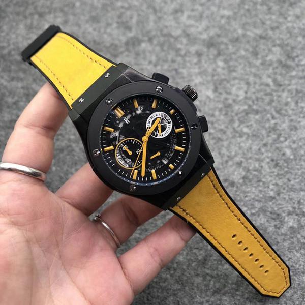 cuoio della vigilanza multi-funzione di calendario al quarzo impermeabile orologio 2019 degli uomini di lusso della moda ora mano di business orologio casuale