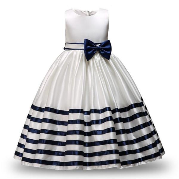 Kid Formal Vestidos Da Menina de Flor Listrado Projeto Bowknot Vestido de Baile Para O Casamento E Festa Traje das Crianças Adolescente Prom Y190516