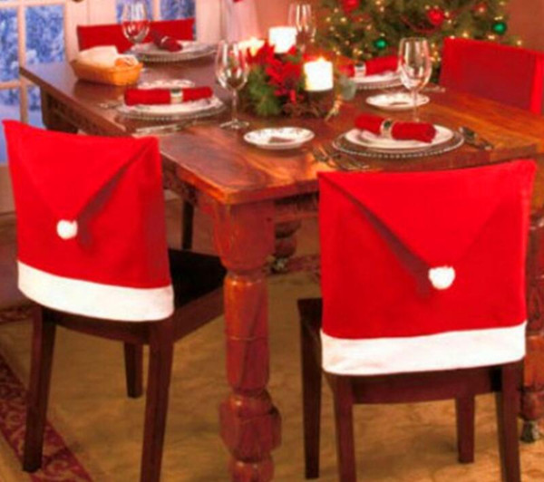 Christmas Chair Cover Santa Clause Red Hat Chair Back Covers Dinner Chair Cap Sets For Christmas Xmas Home Party Decorations new GGA2531