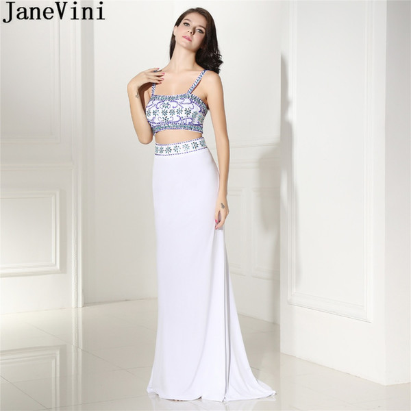 JaneVini Vintage 2 Pieces White Girls Prom Dress Beaded Long Mermaid Chiffon Bridesmaid Wedding Guest Party Dresses With