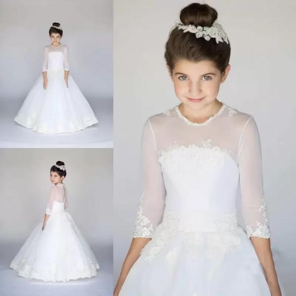 Compre Vestidos Sencillos Para Niña De Flores Blancos Princesa Una Línea Vestido De Comunión Con Mangas De Media Manga Blanca Para Niños A 784 Del