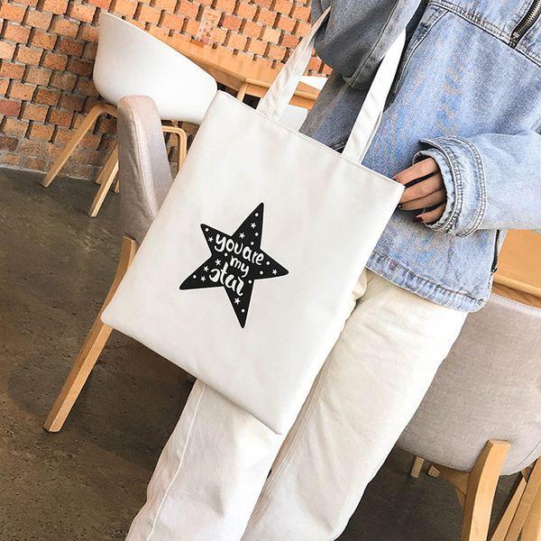 Cheap Fashion Girls Women Fasion Printing Bag Simple Letter Canvas Bag Shoulder Bag Handbag Popular JUNE7