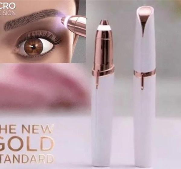 Lipstick Eye Brows Hair Remover Micro Precision 18K Gold Plated Remover Epilator Eyebrow Trimmer Shaving Machine Razor Built in LED Light