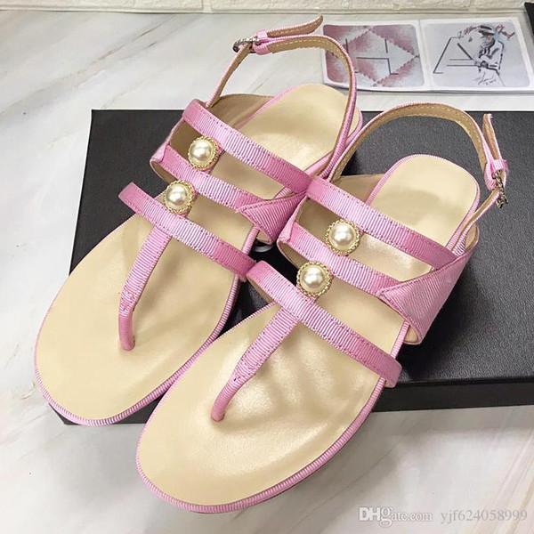 Sandali piatti da donna di design di alta qualità moda donna scarpe con fibbia perla con pantofole scarpe casual sandali pizzico perla con originale qt