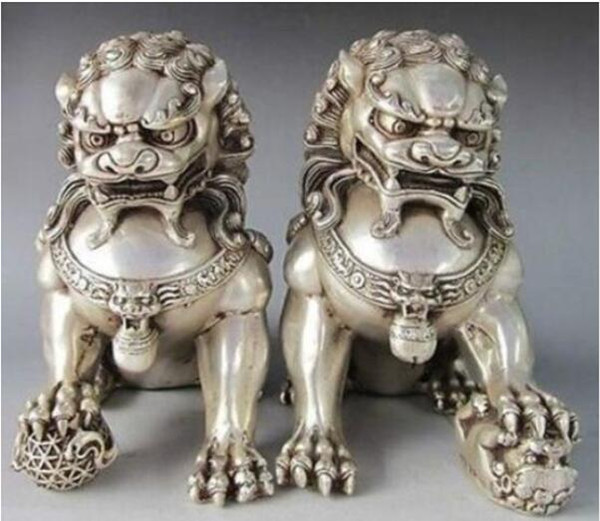 12 * 12cm Statue de Gardien Lion Argent Foo Fu Chinois