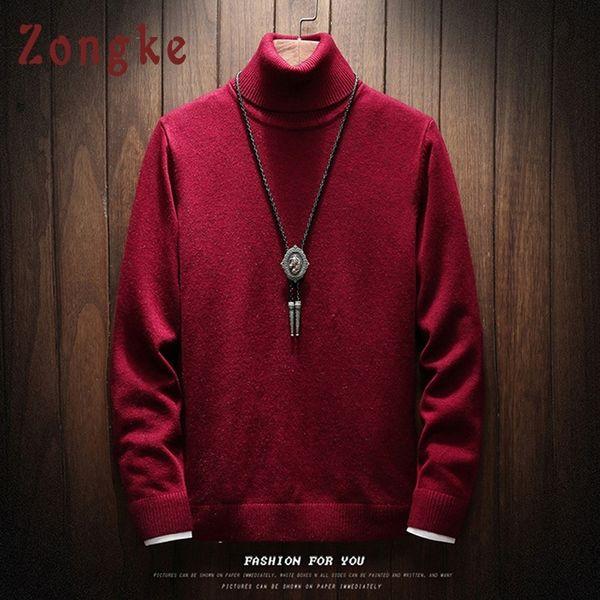 Zongke Turtleneck Sweater Men Solid Christmas Knitted Sweater Men Turtle Neck Men's Turtleneck Sweater Male Pullover 2019 Winter SH190930