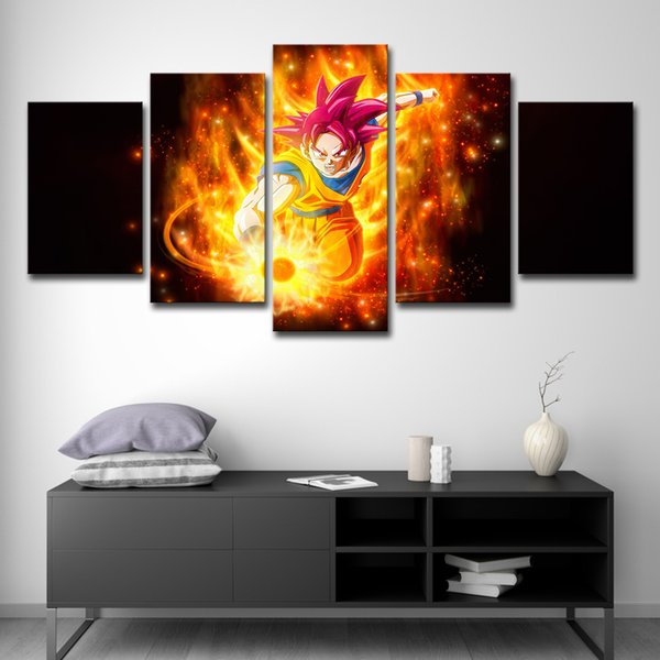 Canvas Wall Art Pictures Home Decor 5 Pieces dragon ball Paren Zlost Ogon Plamia Oil Painting Living Room HD Prints Abstract Poster