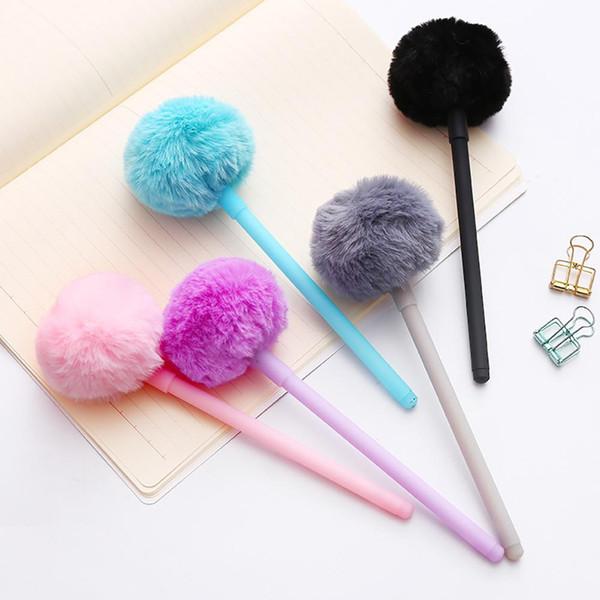 Verkauf 0,5mm Cute Gel Pen Fluffy Ball Schule Bürobedarf Zeichnung Schreibwaren