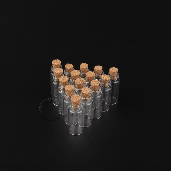 Wholesale Price 3ml/3g Wood Cork Glass Vial Small Clear Decorative Bottle Lovely Wishing Bottles 200pcs/lot Free Shipping