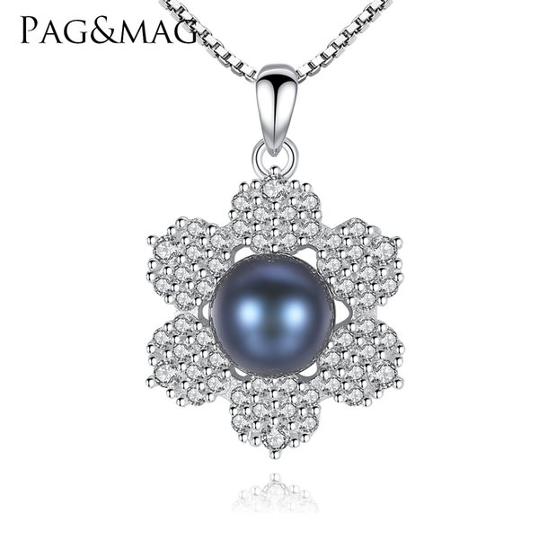 PAG&MAG Brand Romantic Six Petal Black Natural Pearl Pendant Chain Necklace For Women 925 Sterling Silver Jewelry Party Gifts