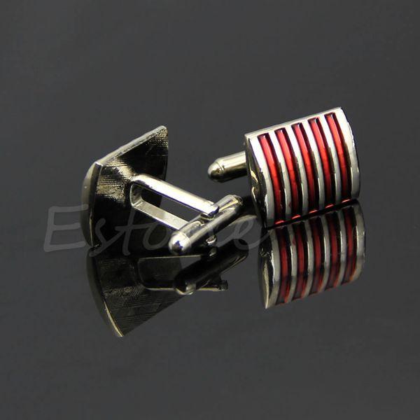 Stripe classique argent carré hommes robe boutons de manchette boutons de manchette cadeau de noce