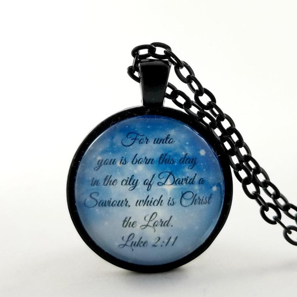 Christmas Bible Verse Necklace For Unto You Is Born This Day Christian Gift | Scripture Gift Ideas Stocking Stuffers